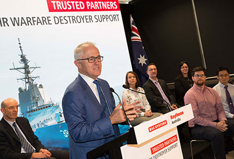 Raytheon Australia Managing Director Michael Ward welcomes Australian Prime Minister, the Honourable Malcom Turnbull MP to the company's facility at Macquarie Park in Sydney.