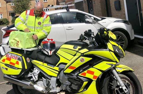 Mat Haisman prepares to make a run for the Lincolnshire Emergency Blood Bike Service