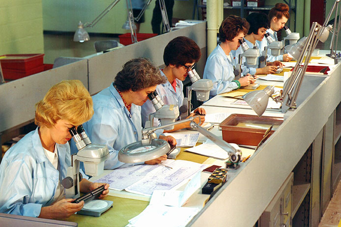 "Seamstresses from Massachusetts mills ""weave"" copper wire into code for the Apollo 11 computers."